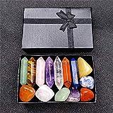 Kit de cristales curativos de primera calidad en caja de madera - Juego de 7 piedras caídas de chakras, juego de piedras de 7
