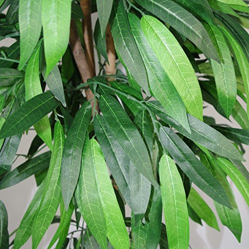 Leaf Blatt-Entwurf UK XL Artificial Mango Tree Pflanze Topf in Schwarzem Kunststoff-Topf
