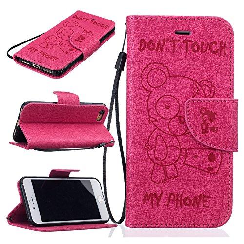 Roreikes Apple iPhone 7 Coque, iPhone 7 Case (4.7 Pouces), Tronçonneuse Ours Conception conception de modèle de motif en relief Folio Cover Wallet Style Book avec fente Stand carte de fonction et magn Pink