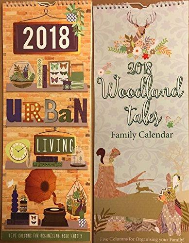 Tallon 2018espiral grandes Slim organizador familiar planificador calendario 5columnas mes para ver (bosque cuentos o la vida urbana)