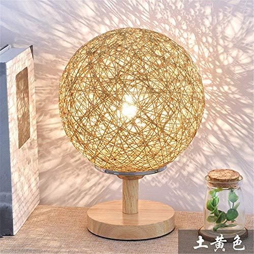 YAYONG Lámpara De Sobremesa Lámpara De Sobremesa Creativa Lámpara De Mesa Noche Lámpara De Jardín Lámpara De Mimbre Twine Ball,Yellow