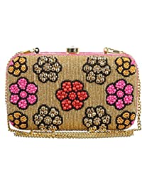 The Indian Handicraft Store Colourful Flowers On Gold Beads Designer Handmade Clutch