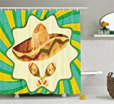 JAMES STRAIN Mexican Decorations Shower Curtain, Funk Art Style Old Straw Hat with Decorative Maracas Illustration, Fabric Bathroom Decor Set with Hooks, 70 inches, Yellow Green