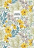 Grand Agenda 2020 Journalier: 2 Pages par Jour Agenda 2020 - Motif Floral Jaune - Agenda Calendrier 2020 - Grand format 21x29,7cm