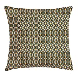 VVIANS Geometric Throw Pillow Cushion Cover, Rhombuses Squares and Circles in Bullseye Pattern Abstract, Decorative Square Accent Pillow Case, 18 X 18 inches, Indigo Orange Pale Sea Green