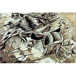 Posterlounge Leinwandbild 180 x 120 cm: Die Gebühr der Lancers von Umberto Boccioni/akg-Images - fertiges Wandbild, Bild auf Keilrahmen, Fertigbild auf echter Leinwand, Leinwanddruck