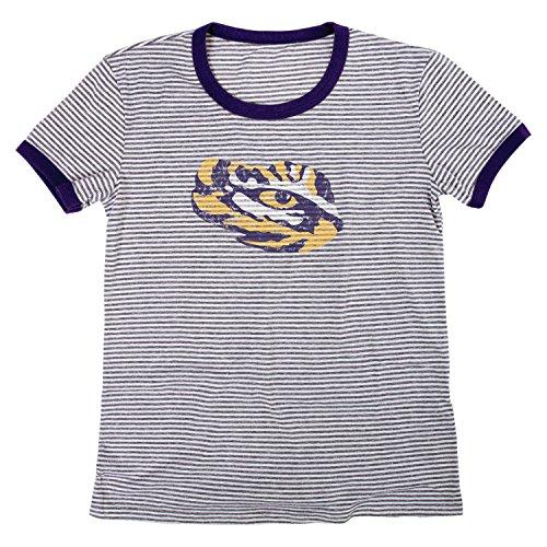 Blue 84 NCAA LSU Tigers Damen Tri-Blend Retro Stripe Ringer Shirt, Größe S, Lila -