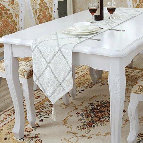 Preisvergleich Produktbild PRIDE S Bright Silk Bar Muster Mode Luxus Tischläufer, 28 * 180, weiß