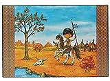 Schreibtischunterlage - Indianer - 60 cm * 40 cm - mit Einschubfach _ PVC Unterlage Tischunterlage / Bastelunterlage / Knetunterlage - Pferd Indianerjunge Tis..