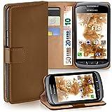 moex Samsung Galaxy Xcover 2 | Hülle Braun mit Karten-Fach 360° Book Klapp-Hülle Handytasche Kunst-Leder Handyhülle für Samsung Galaxy Xcover 2 Case Flip Cover Schutzhülle Tasche