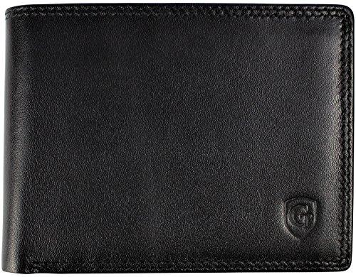 Elegantes Herren Portemonnaie Geldbörse mit großem Münzfach aus hochwertigem Leder mit Gold RFID und NFC Schutz Blocker extra dünn   Brieftasche schützt Kreditkarten vor Datendieben