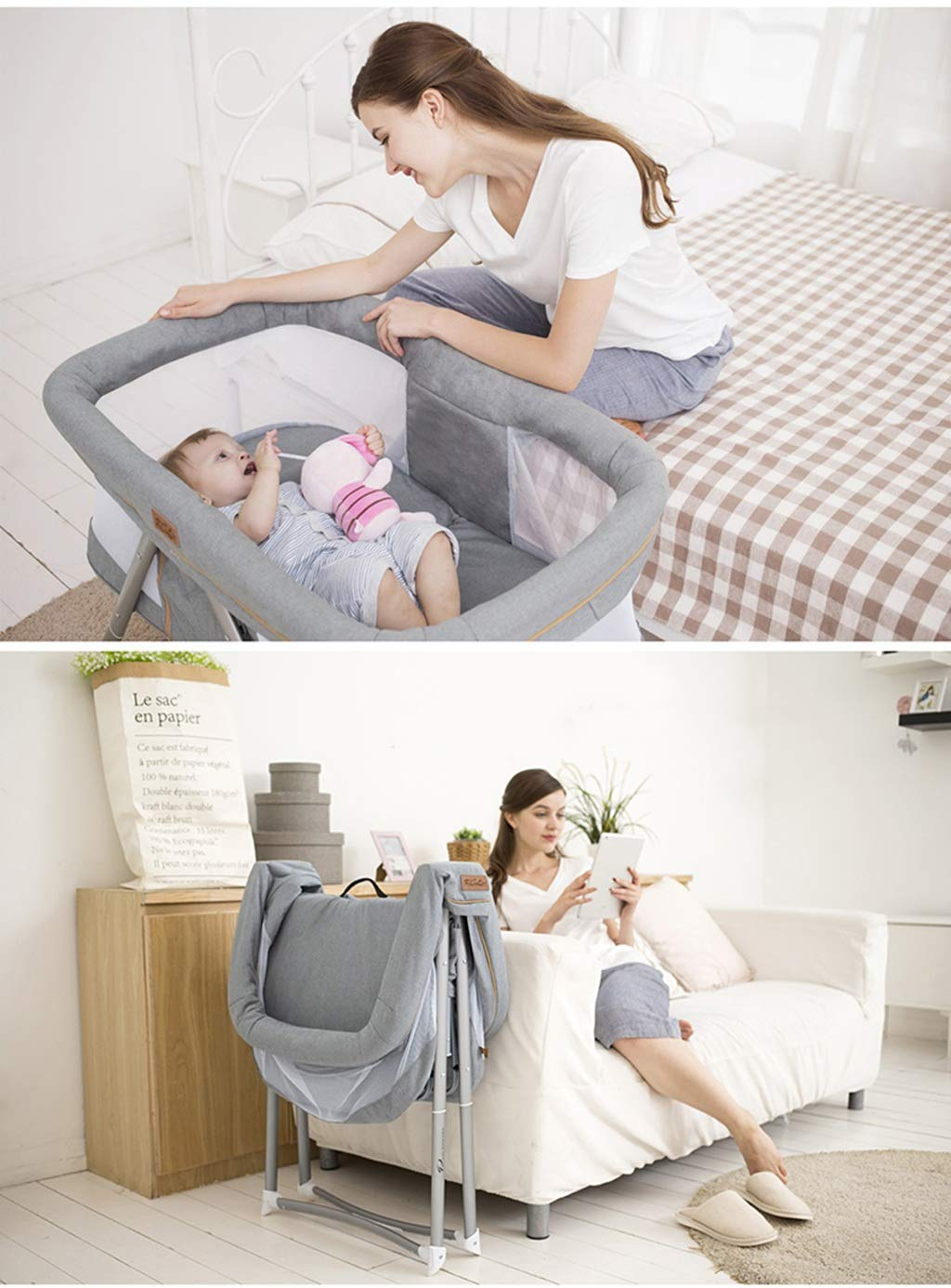 Multifunction Baby Cot, Mosquito Net Metal Foldable Space Saving Shaker Bedside Travel Bed, 54 * 91 * 66CM (Color : Gray) Zhao ♥ Product Name: Multifunctional crib / / Size: 54 * 91 * 66CM / / Material: cloth; ♥Characteristics: widening and widening, high fence, no need to worry about naughty baby turning over, easy to install, one-handed one-button storage, fine-woven high-density linen, not easy to wrinkle, encrypted polyester mosquito net, high-molecular alumina thickened tube, Strong bearing capacity; ♥Bionic uterus design, give your baby enough safety, let the baby sleep sweetly; 4