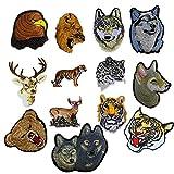 ximkee, León tigre leopardo lobo ciervos animales colección bordado parches Sew hierro en Appliques multicolor