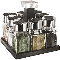 S&D KB5754 Carrousel à épices Distributeur carré rotatif 8 pots Noir gris et transparent Plastique et verre Couvercles…