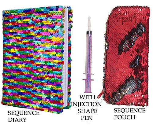 SHREE TECHNESH® Unique Sequence Combo with Pouch & Beautiful Sequence Diary, Pack of 2 (Multi) - Random Color Injection Pen