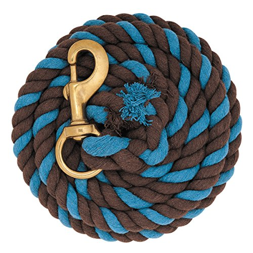 WEAVER TURQUOISE BLUE AND CHOCOLATE BROWN 10' COTTON LEAD ROPE WITH BRASS SNAP HORSE TACK Turquoise and Brown