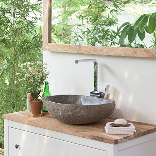 wohnfreuden Naturstein Waschbecken Unikat groß grau Steinwaschbecken 50 cm