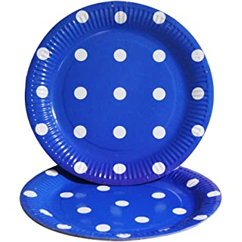 PrettyurParty Polka Dots Paper Plates (Pack of 10) - Dark Blue