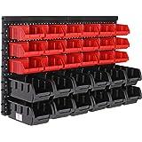 Deuba Wandrek met stapelboxen | 32-delige box | Extra sterke wandplaten | rek uitbreidbaar | Werkplaatsrek opslagrek werkplaa