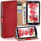 Samsung Galaxy S3 Hülle Rot mit Karten-Fach [OneFlow 360° Book Klapp-Hülle] Handytasche Kunst-Leder Handyhülle für Samsung Galaxy S3 / S III Neo Case Flip Cover Schutzhülle Tasche