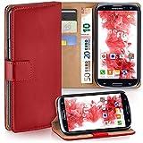 moex Samsung Galaxy S3 | Hülle Rot mit Karten-Fach 360° Book Klapp-Hülle Handytasche Kunst-Leder Handyhülle für Samsung Galaxy S3 / S III Neo Case Flip Cover Schutzhülle Tasche