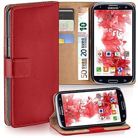 Pochette OneFlow pour Samsung Galaxy S3 / S3 Neo housse Cover avec fentes pour cartes | Flip Case étui housse téléphone portable à rabat | Pochette téléphone portable étui de protection accessoires téléphone portable protection bumper en BLAZING-RED