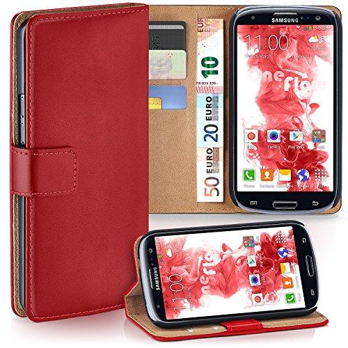 Samsung Galaxy S3 Hülle Rot mit Karten-Fach [OneFlow 360° Book Klapp-Hülle] Handytasche Kunst-Leder Handyhülle für Samsung Galaxy S3 / S III Neo Case Flip Cover Schutzhülle Tasche Galaxy S3 Handy Cover Leder