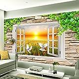 Ohcde Dheark Benutzerdefinierte Hintergrundbilder Für Wand Stereoskopischen 3D-Fenster Anzeigen Landschaft Sunset Rose F