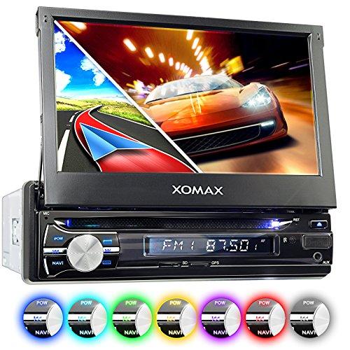 XOMAX XM-DTSBN933 Autoradio mit GPS Navigation, Bluetooth Freisprecheinrichtung,18 cm Touchscreen Bildschirm, DVD CD Player, USB, Micro SD, Anschlüsse für Rückfahrkamera und Lenkradfernbedienung, 1DIN, mit GPS Antenne, Fernbedienung