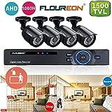 FLOUREON Kit de Sécurité 8CH AHD 1080N CCTV DVR avec Lot de 4 Caméras de Surveillance 720P 1.0MP 1500 Lignes pour Bureau Magasin Maison