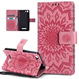 Coque Wiko Lenny 2,Etui Wiko Lenny 2,ikasus Embosser Gaufrage fleur soleil Housse Cuir PU Housse Etui Coque Portefeuille Protection supporter Flip Case Etui Housse Coque pour Wiko Lenny 2,Rose