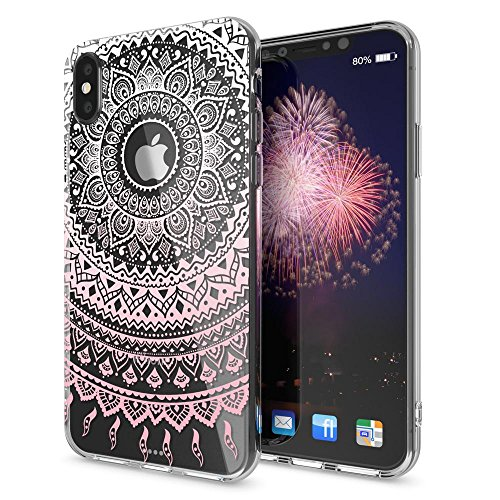iPhone X Hülle Handyhülle von NICA, Slim Silikon Motiv Case Cover Crystal Schutzhülle Dünn Durchsichtig, Etui Handy-Tasche Backcover Transparent Bumper für Apple iPhone-X - Transparent Mandala Pink