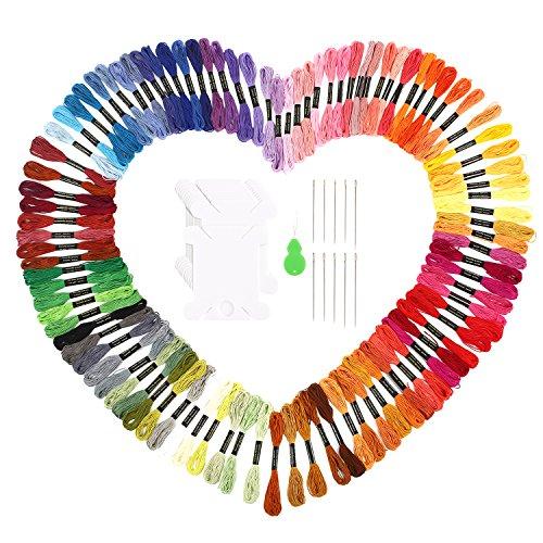 Stickgarn Embroidery Floss multifarben weicher Baumwolle perfekt für Friendship Bracelets Freundschaftsbänder Kit Stickerei Basteln Leisure Arts Kreuzstich Embroidery Threads Nähgarne Häkeln 8m (zufällige Farbe) (100 Farben)