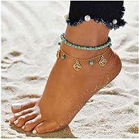 Edary Boho cavigliera turchese con cinturino alla caviglia in oro con cinturino alla caviglia perline gioielli per donne…