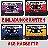 Kassette als Einladungskarten Kassetten Einladung - 4 Farben zur Auswahl Geburtstag Party 20 Stück Musikkasette CD Schallplatte cassette Mann Frau