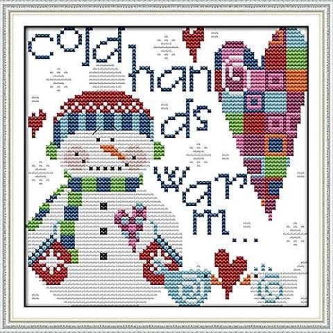 sypure (TM) 22* * * * * * * * 21.7cm DIY Fait à la main de point de croix compté Kit broderie Needlework Kit point de croix Motif Noël Bonhomme de neige Coutures