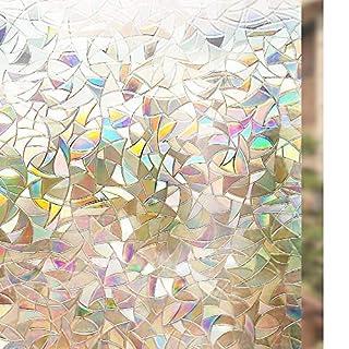 rabbitgoo Selbstklebend Dekorfolie Sichtschutzfolie Statisch Haftend Anti-UV-44,5cm200cm-Regenbogenfarben Effekt unter Licht, Glas, 3D Fensterfolie 44.5X200CM
