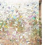 rabbitgoo 3D Fensterfolie Selbstklebend Dekorfolie Sichtschutzfolie Statisch Haftend Anti-UV - 44,5cm*200cm - Regenbogenfarben Effekt unter Licht