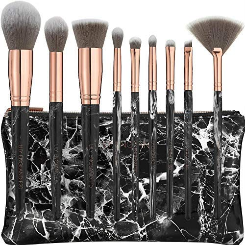 Lily England Make Up Pinsel Set mit Pinseltasche in schwarzer Marmor Optik & Rosegold Kombination | 9-teiliges & professionelles Beauty Kosmetikpinsel & Schminkpinsel Set für Schminke & Lidschatten -