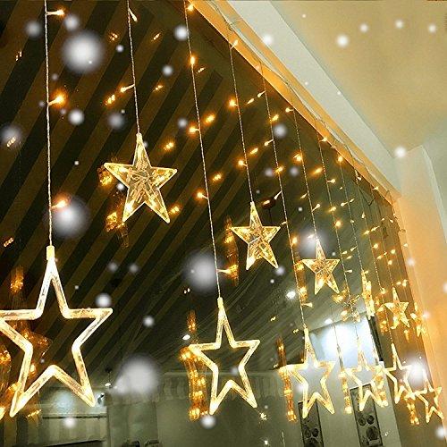 Eplze 12 Étoiles (6 Grand 6 Petit) Autour de 138 LEDs 2M x 1M Lampes à Cordes 8 Modes pour le Mariage Fête Accueil Rideau Lumières de Décoration (Blanc chaud)