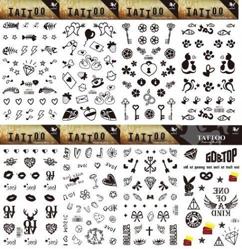 Grashine 8pcs different lungo e realistico in 1pacchetto, tatuaggi temporanei, tra cui chiave, labbra e totem, simpatico gatto, pesce, cuore tatuaggio adesivi
