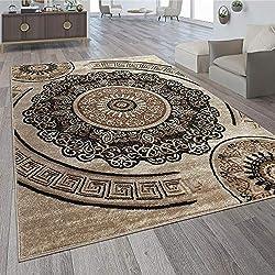 Paco Home Alfombra De Diseño Motivo De Mandala Marrón, tamaño:160x220 cm