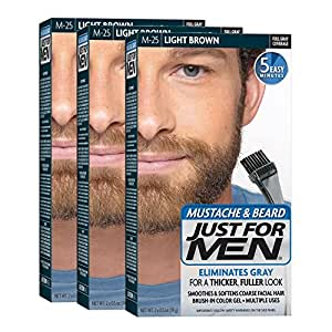 Just for Men Brush-In Color Gel Mustache and Beard Light Brown M-25 1 kit (Pack of 3)