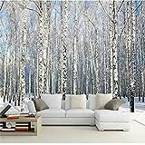 YShasaG Seidenwandbild Benutzerdefinierte Jede Größe Foto Hintergrundbild Winter Schnee Birkenwald Kunst Wandverkleidung Schlafzimmer Wandbilder Modern Wallpaper Home Decor,336cmx238cm
