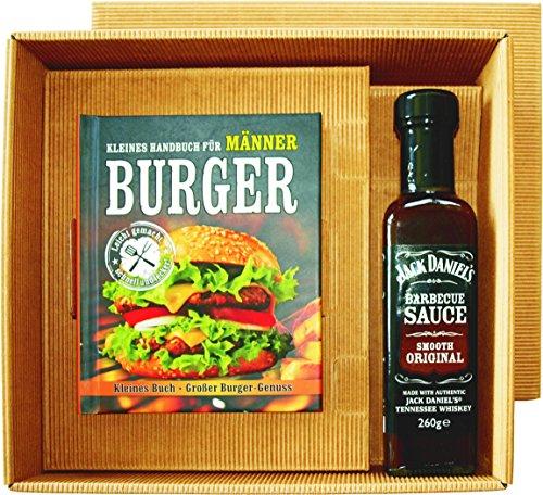 Burger Handbuch Männer Burger Buch mit Jack Daniel's BBQ Sauce im Geschenk Set -