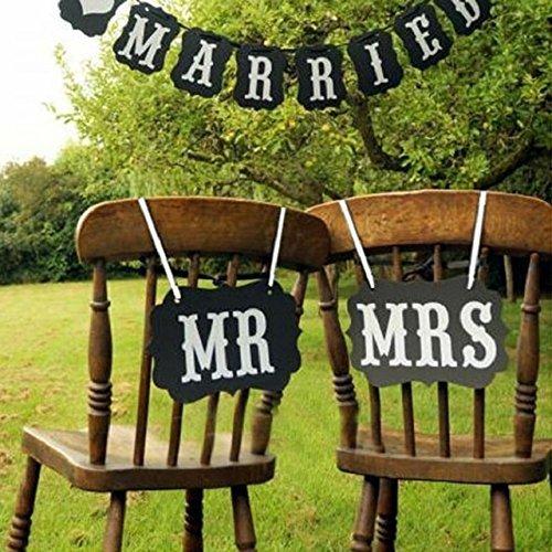 Schwarz Just Married und Herr Frau Vintage Hochzeit Wimpelkette Banner Photo Booth Requisiten Schilder Girlande Braut Dusche Hochzeit Dekoration