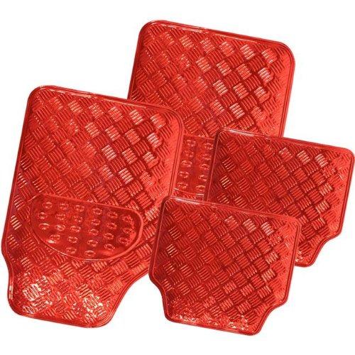 easy-wipe-clean-set-of-red-shiny-heavy-duty-car-mats-aluminium-finish-protectors