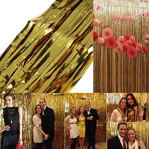 nsel Vorhang Folie Kulisse Hochzeit Geburtstag Party Tür Dekoration Gold, 2m ()