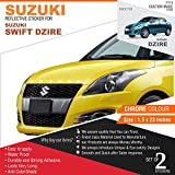#4: Suzuki Reflective Sticker For Swift Dzire-2 Chrome Stickers for Front and Rear