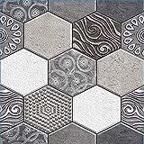 Beyond Deko Fliesenaufkleber 3D Steinwandoptik Wandaufkleber 30 x 30 cm, 6er-Set, Selbstklebend, Sechseck Hexagon 516
